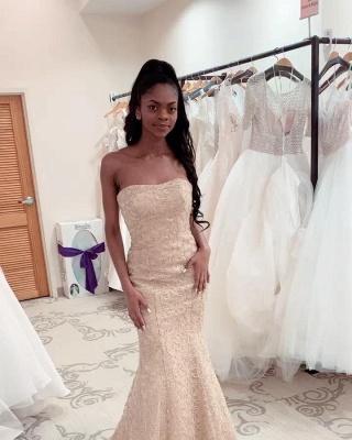 Charming Strapless Beaded Mermaid Wedding Dress | Affordable Sleeveless Long Bridal Dress_2