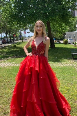 Sexy Dee V Neck Red Organza Long Prom Dress   Cheap Layers Lace Straps Prom Gown_1