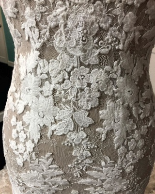 Beautiful Lace Mermaid Cheap Wedding Dresses_4