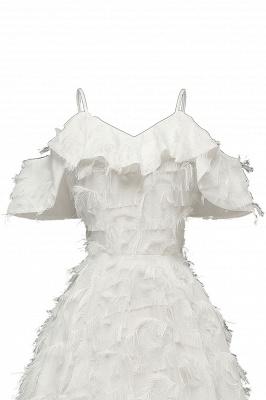 Stylish Spaghetti Straps Artifical Feather Princess Vintage Short Dresses_16