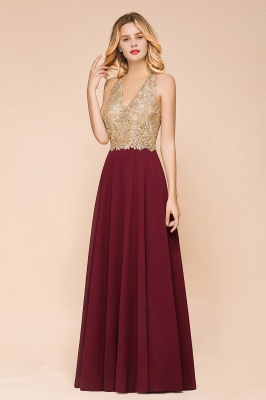 Cheap Chiffon Appliques Long Prom Dress | Affordable Floor Length A-line Evening Dresses_9
