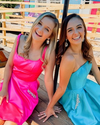 A-line Strapless Short Homecoming Dress | Satin Short Dress for Back to School with Pockets and Rhinestones_3