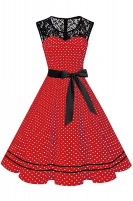 Brilliant Jewel A-line Bow Sleeveless Fashion Belted Dresses | Polk-Dot Knee-Length Women's Dress_10