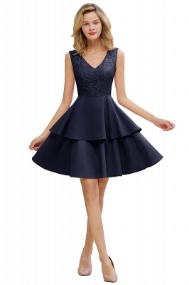 Lovely V-neck V-back Knee Length Ruffle Homecoming Dresses_20