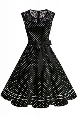 Brilliant Jewel A-line Bow Sleeveless Fashion Belted Dresses | Polk-Dot Knee-Length Women's Dress_3
