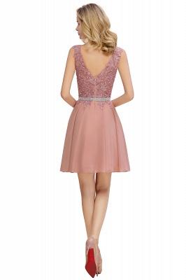 Cute Deep V-neck Knee Length Belt Beaded Short Homecoming Dresses_8