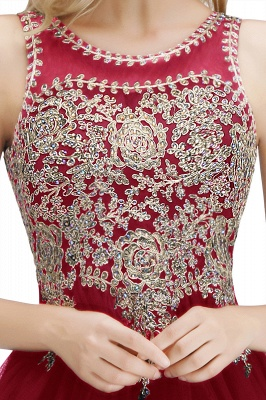 Cute Crew Neck Open Back Beaded Lace Appliques Homecoming Dresses_33
