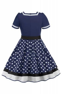 Fascinating A-line Belted Short Sleeve Jewel Polk-Dot Women's Dresses   Knee-Length Fashion Dress_14