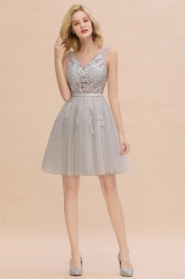 Lovely V-neck Lace-up Short Prom Dresses with Lace Appliques_23