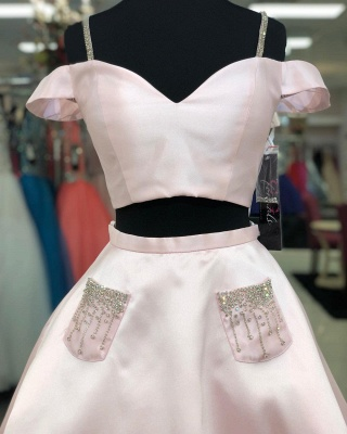 Two Piece Spaghetti Straps Homecoming Dress with Beaded | Stunning Pink Short Dress for Back to School_2