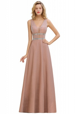 Gorgeous Sleeveless V-back Pink Deep V-neck Long Evening Dresses_5