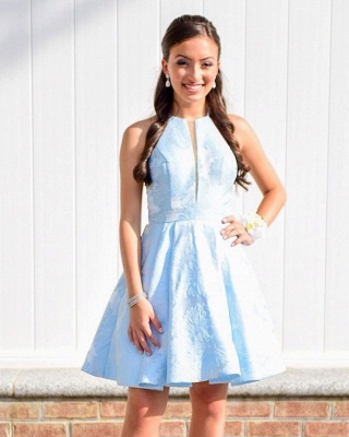 Fashion Sleeveless A-Line V-Neck Halter Short Prom Homecoming Dress_2