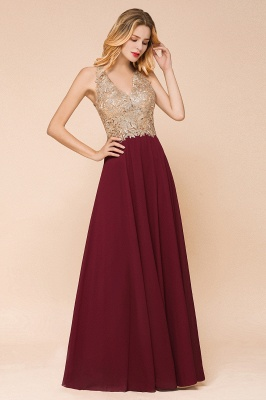 Cheap Chiffon Appliques Long Prom Dress | Affordable Floor Length A-line Evening Dresses_16