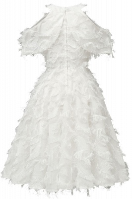Gorgeous A-line High neck Artifical Feather Vintage Short Dresses_18
