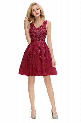 Lovely V-neck Lace-up Short Prom Dresses with Lace Appliques_27