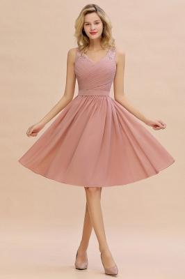 Cheap A-line Chiffon Ruffle Bridesmaid Dress Sleeveless Lace Homecoming Dress in Stock_8