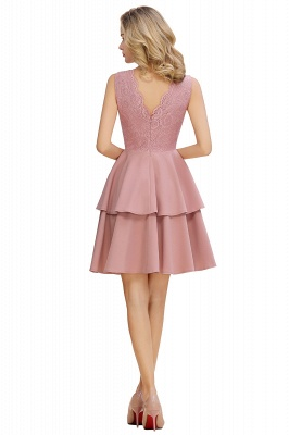 Lovely V-neck V-back Knee Length Ruffle Homecoming Dresses_9