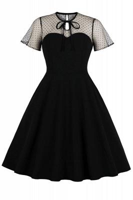 Elegant Round Neck Lace Short Sleeves Fashion Beer Dresses | A-Line Knee-Length Women's Dress_3