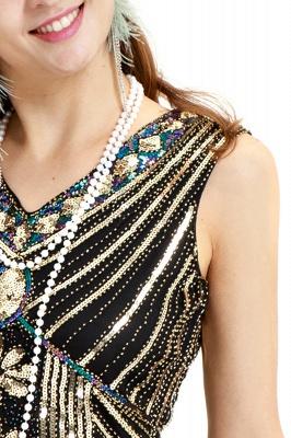 V-neck Sleeveless V-Black Short Cocktail Dresses  Burgundy  Emerald Silver Sequined Dress_24