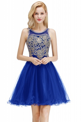 Cute Crew Neck Open Back Beaded Lace Appliques Homecoming Dresses_2