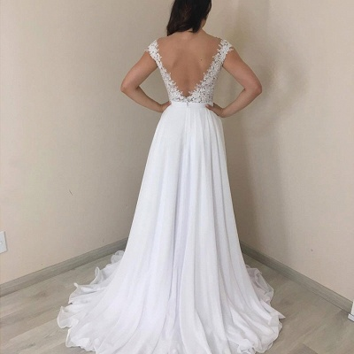 Alluring Off the Shoulder Cap Sleeves A-line Wedding Dresses_2