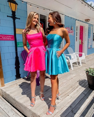 A-line Strapless Short Homecoming Dress | Satin Short Dress for Back to School with Pockets and Rhinestones_2