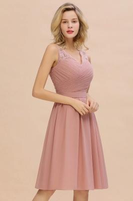 Cheap A-line Chiffon Ruffle Bridesmaid Dress Sleeveless Lace Homecoming Dress in Stock_11