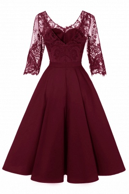 Stunning A-line Retro Scoop Neck V-back Ruffles Burgundy Lace Party Dresses_13