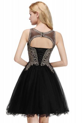 Cute Crew Neck Open Back Beaded Lace Appliques Homecoming Dresses_8