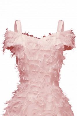 Artificial Fur Cap Sleeve Princess Short Homecoming Dress_9