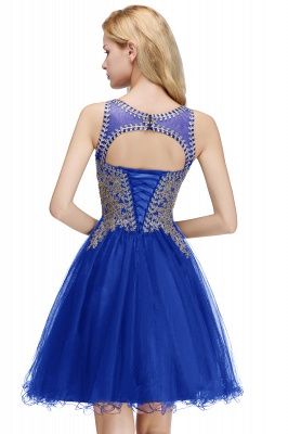 Cute Crew Neck Open Back Beaded Lace Appliques Homecoming Dresses_6