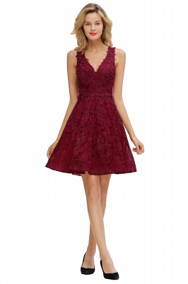 Princess V-neck Knee Length Lace Appliques Homecoming Dresses_10