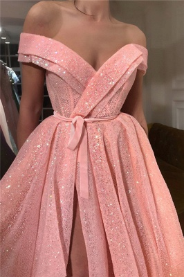 Sparkly Sequins Off the Shoulder Sweetheart Prom Dress | Sexy Sleeveless Front Slit Long Prom Dress_2