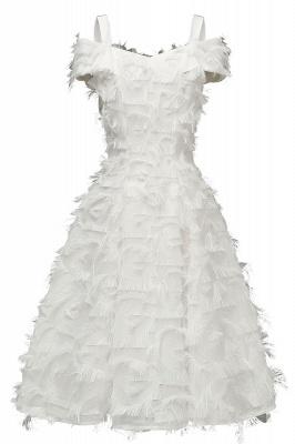 Artificial Fur Cap Sleeve Princess Short Homecoming Dress_1