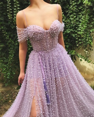 Exquisite Tulle Pearls Off the Shoulder Prom Dress | Sexy Sweetheart Front Slit Long Affordable Prom Dress_2