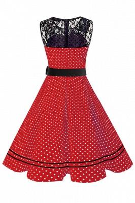 Brilliant Jewel A-line Bow Sleeveless Fashion Belted Dresses | Polk-Dot Knee-Length Women's Dress_11