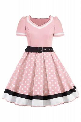 Fascinating A-line Belted Short Sleeve Jewel Polk-Dot Women's Dresses   Knee-Length Fashion Dress_1