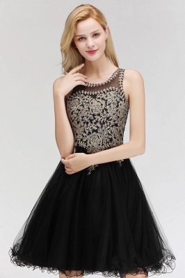 Cute Crew Neck Open Back Beaded Lace Appliques Homecoming Dresses_13