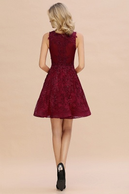 Princess V-neck Knee Length Lace Appliques Homecoming Dresses_9
