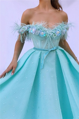 Sexy Off the SHoulder Sleeveless Prom Dress | Cute Feather Tulle Long Prom Dress with Pearls_2