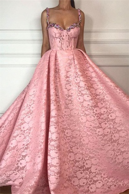 Fantastic Ball Gown Straps Sweetheart Prom Dress | Gorgeous Pink Lace Beading Long Prom Dress_1