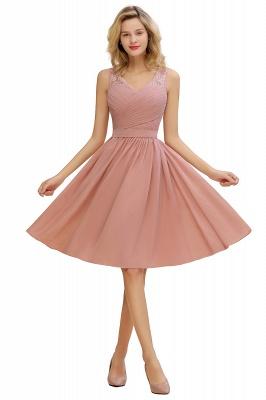 Cheap A-line Chiffon Ruffle Bridesmaid Dress Sleeveless Lace Homecoming Dress in Stock_2