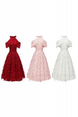 Gorgeous A-line High neck Artifical Feather Vintage Short Dresses_17