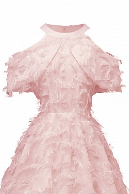 Gorgeous A-line High neck Artifical Feather Vintage Short Dresses_9
