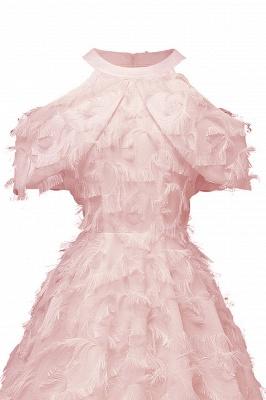 Gorgeous A-line High neck Artifical Feather Vintage Short Dresses_9