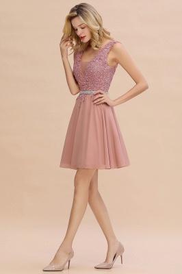 Cute Deep V-neck Knee Length Belt Beaded Short Homecoming Dresses_11