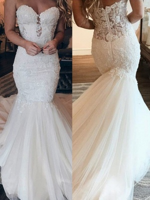 Stunning Beaded Mermaid Wedding Dresses | Cheap Trumpet Bridal Dresses_2