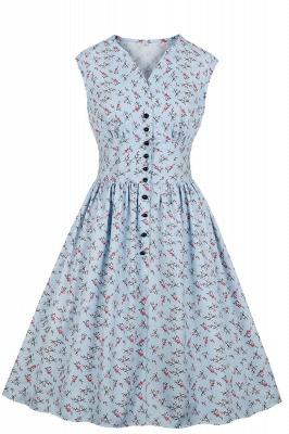 Glorious Jewel Sleeveless A-line Fashion  Dresses | Floral Knee-Length Women's Dress_7