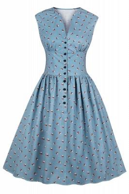 Glorious Jewel Sleeveless A-line Fashion  Dresses | Floral Knee-Length Women's Dress_8