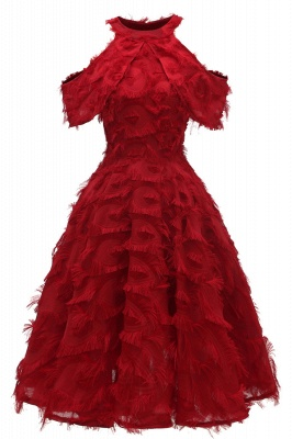 Gorgeous A-line High neck Artifical Feather Vintage Short Dresses_3